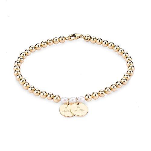VIENNA Kugel Armband 14K Gold Filled mit Gravur | Personalisierter Schmuck | Geschenke zum Muttertag Valentinstag Geburtstag