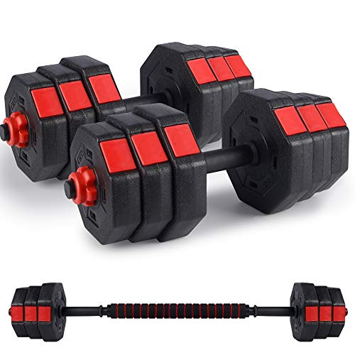 Kitclan Dumbbells Set, 44Lbs/66Lbs Adjustable Weight Set, Home Gym Equipment for Men Women Fitnrss Work Out Exercise Training Used as Barbells (Pair) (44Lbs Barbell (22Lbs Dumbbell Pair))