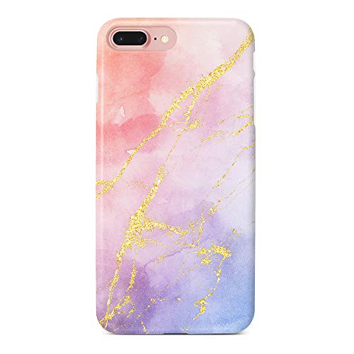 uCOLOR Watercolor Gradient Gold Veins Case Compatible with iPhone 8 Plus/7 Plus,iPhone 6S Plus/6 Plus Cute Protective Case Slim Soft TPU Silicon Shockproof Cover
