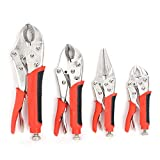 FASTPRO 4-Piece Locking Pliers Set With Heavy Duty Grip, 5', 7' and 10' Curved Jaw Locking Pliers, 6-1/2' Long Nose Locking Pliers Included