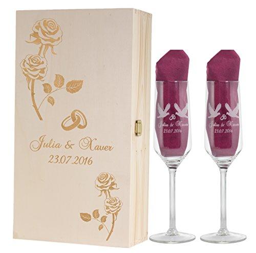 Feiner-Tropfen 2 Sektgläser Rosenmotive zur Hochzeit für Brautpaar mit Gravur