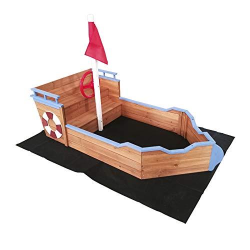 Outdoor Toys Sandkasten Holz Boot Abmessungen 158 x 78 x 100 cm, Mehrfarbig (KNH1016)