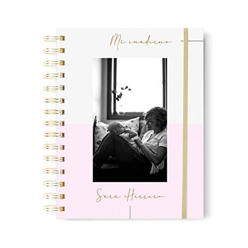 Libreta personalizada con diseño de foto y nombre, nombre personalizado en stamping, cuaderno personalizado fabricado en tapa dura.