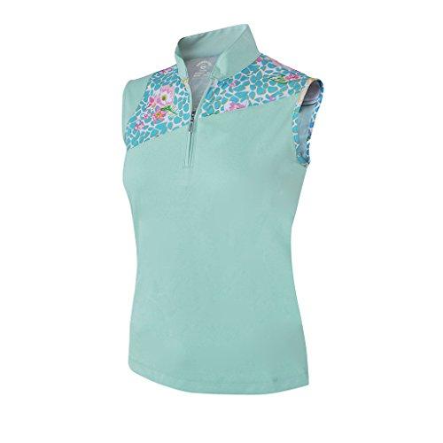 Monterey Club Ladies Dry Swing Vivid Flower Leopard Print Block Sleeveless Shirt #2365 (Fairest Jade, Medium) (Sale)