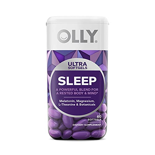 OLLY Ultra Strength Sleep Softgels, 10 mg Melatonin, Supports Deep Restful Sleep, Magnesium, L-Theanine, Chamomile, Lemon Balm, Nighttime Sleep Aid, Non Habit-Forming - 60 Count (Packaging May Vary)
