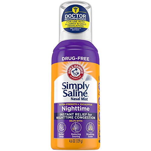 multi purpose saline nasal spray Arm & Hammer Simple Saline Nose Mist Extra Strength, Eucalyptus Night Formula, 4.6 oz