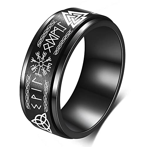 FLYUN Viking Rings For Men Norse Jewelry For Men Celtic Runes Men's Viking Black Ring Mens (Black Viking , 10)