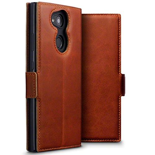 TERRAPIN, Kompatibel mit Sony Xperia L2 Hülle, ECHT Leder Börsen Tasche - Ultra Slim Fit - Betrachtungsstand - Kartenschlitze - Cognac