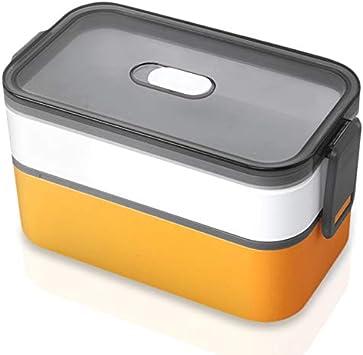 Elinala Bento Box, Fiambreras, Fiambrera de Doble Capa Sellada a Prueba de Fugas Lavable en el Microondas y Lavable en Microondas para Adultos y Niños (Naranja)