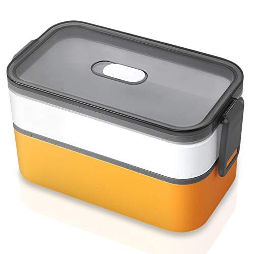 Elinala Bento Box, Lunchbox mit Fächern, Geschirrspülerreinigbar und Mikrowellengeeignet Versiegelte, Auslaufsichere, Doppelschichtige Brotdose im Japanischen Stil für Erwachsene und Kinder(Orange)