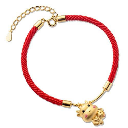 WCOCOW Lucky Charm Bracelet 2021 Año del OX S925 STRILLY SLINLING SLINLING OX Dinero Bolsa DE Dinero DE OXTO Rojo Pulsera de la Cuerda roja AMULABLE ATRATE LA RIAZZ