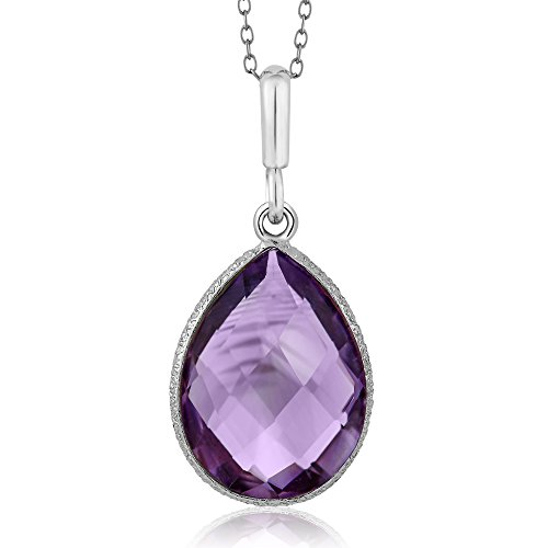 Gem Stone King 925 Sterling Silver Amethyst Pendant Necklace 6.50 Ct Pear Shape Gemstone Birthstone For Women with 18 Inch Silver Chain