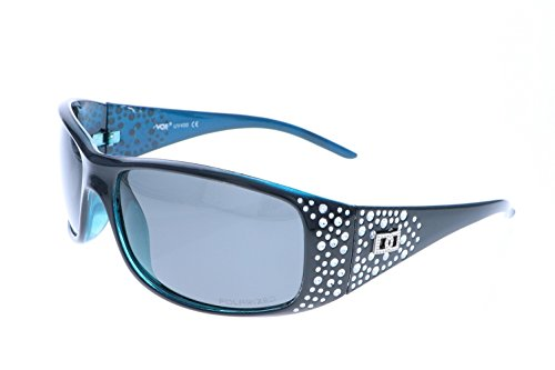 VOX Frauen polarisierte Sonnenbrille Designermode Brillen kostenlos aus Mikrofaser Beutel – Schwarzen & blau Frame – getöntes