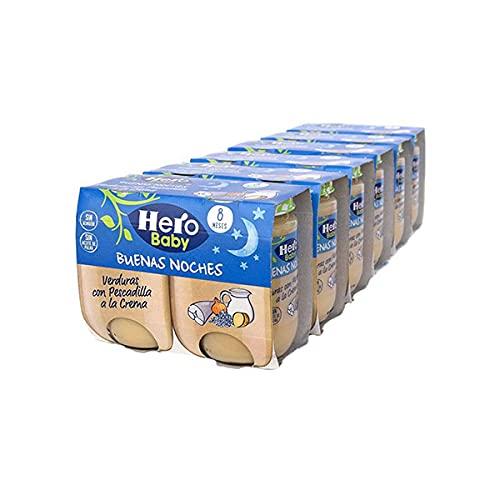Hero Baby - Tarrito de Verduritas con Pescadilla a la Crema, Ingredientes Naturales, para Bebés a Partir de los 8 Meses - Pack de 6