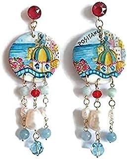 orecchini positano, positano, orecchini dipinti a mano, orecchini paesaggio, orecchini placcato oro, orecchini swarovski e...