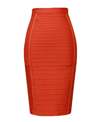 whoinshop Women's Stretchy Slim Fit Midi Pencil Skirt with Zipper (XL, Orange)