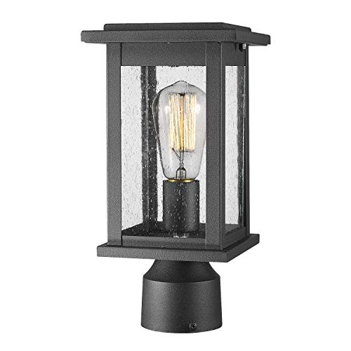 Emliviar Outdoor Post Light Fixtures, 1-Light Pillar Light in Black Finish with Seeded Glass, 1803EW1-P
