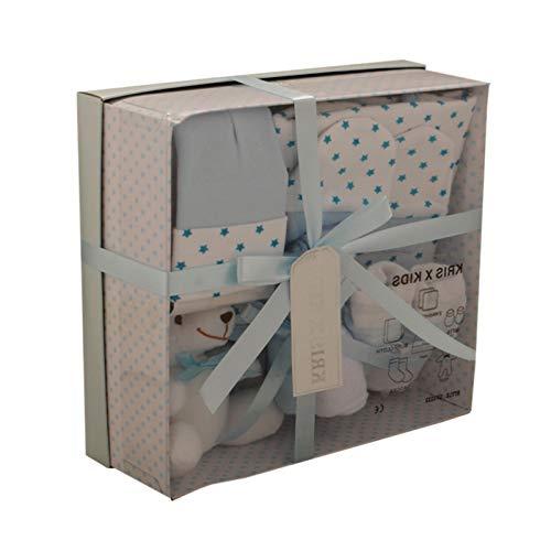 Coffret cadeau - Trousseau de naissance - garçons ou filles - nouveaux nés ou cadeau pour la fête prénatale - 7 pièces - Bleu (0-3 mois)