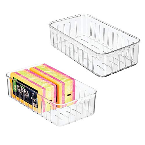 mDesign Juego de 2 Cajas organizadoras para bolígrafos, Notas, Clips, etc. – Bandeja de plástico Resistente para Material de Oficina – Organizador de Escritorio Rectangular y Abierto – Transparente