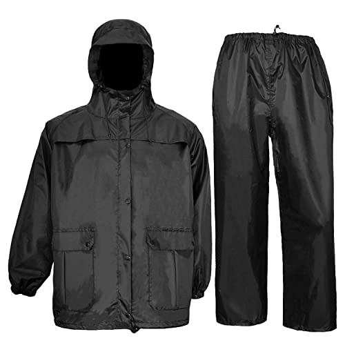 Hunting Rain Suits for men Waterproof Jacket with Bib Pants Overall Seam Taped(Black, Large)