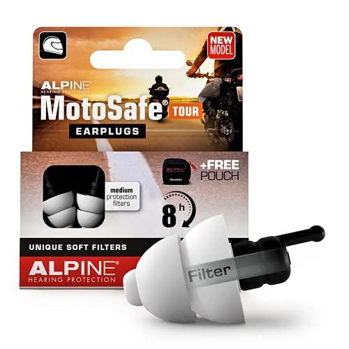 Alpine MotoSafe Tour hörselskydd öronproppar Touringproppar – förhindrar hörselskador från motorcykel – hörbar trafik – bekvämt allergivänliga material – återanvändbar