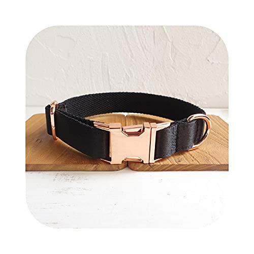 Pet Supplies - Collar y correa para perro, pendientes de metal oro rosa, collar negro ajustable - Collar-XL