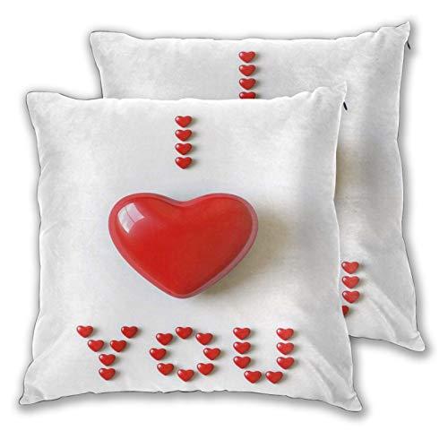 FULIYA Funda de cojín decorativa con ilustración 3D de corazón de San Valentín en medio de palabras hecha con fuente en forma de corazón, adecuada para cama completa, funda de cojín de 45,7 x 45,7 cm