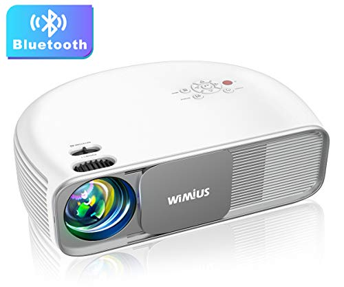 "Bluetooth Projector Native 1080P 7000Lux Full HD, WiMiUS Upgrade S4 Home & Outdoor Projector Support 4K & Dolby, 300"" Led Video Projector Compatible with Fire TV Stick, PS4, Laptop, iPhone, DVD"
