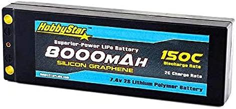 HobbyStar 8000mAh 7.4V, 2S 150C Hardcase LiPo Battery, Silicon Graphene, Dean's Plug