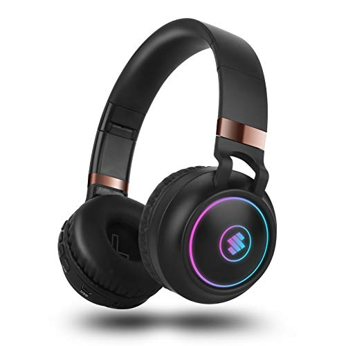 Sendowtek Cascos inalambricos Bluetooth Diadema, Auriculares con cancelación de Ruido,Modo de Efecto RGB con Cable TF FM con micrófono Incorporado