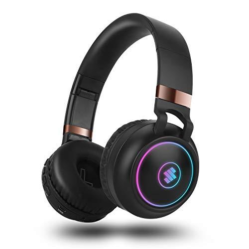 Cascos inalambricos Bluetooth Diadema,Sendowtek Auriculares con cancelación de Ruido,Modo de Efecto RGB con Cable TF FM con micrófono Incorporado