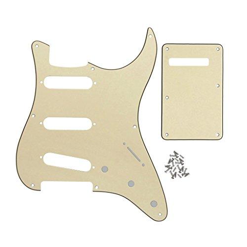 FLEOR Set de 8 agujeros SSS Pickguard y placa posterior de guitarra con tornillo para reemplazo de piezas de guitarra estilo Strat Vintage, crema de 3 capas