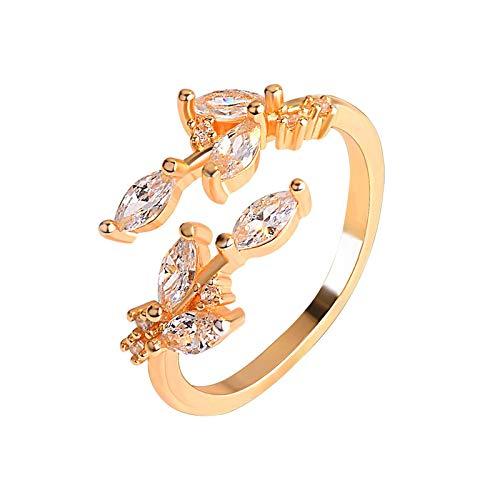 Anillos para niñas 18k Zircon Leaf Ring Open Ring