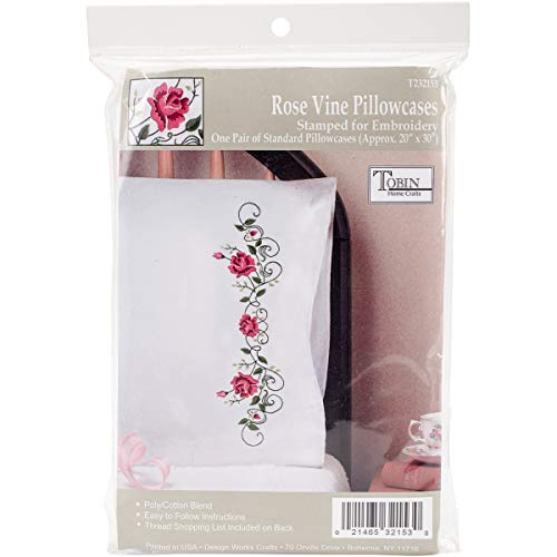 Tobin Stamped Pillowcases, Rose Vine, 20' x 30' Embroidery Kit, Pink