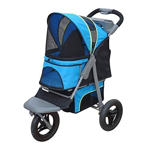 3 wiel hond kinderwagen, kinderwagen drager buiten reis opvouwbaar huisdier kar medium groot invalide hond kar blauw