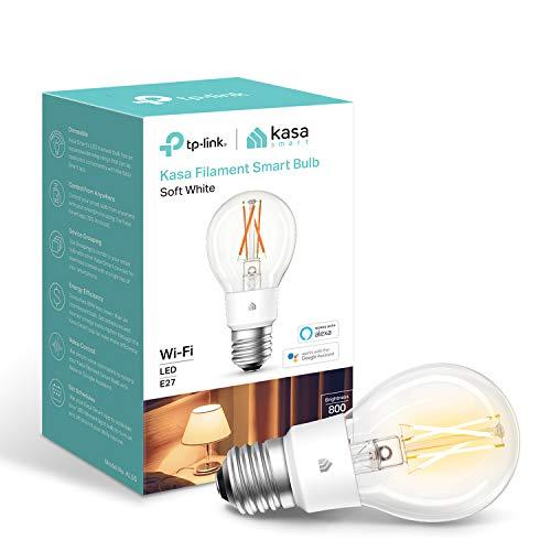 Bombilla inteligente Kasa de TP-Link, bombilla de filamento WiFi, E27, 7 W (60 W equiv.), no requiere hub, funciona con Alexa (Echo y Echo Dot) y Google Home, regulable suave blanco cálido (KL50)