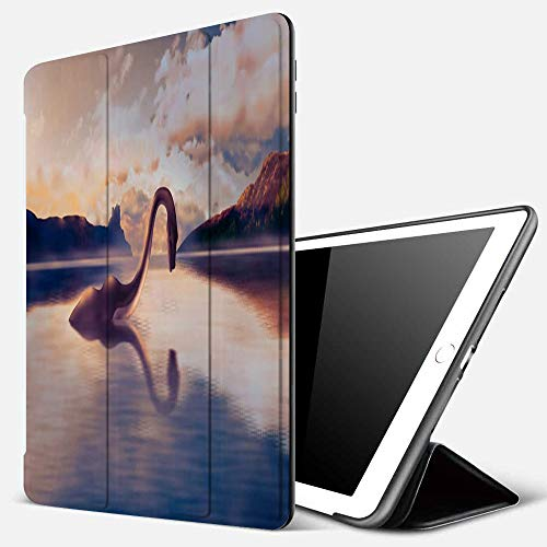 iPad 9.7 inch 2017/2018 Case/iPad Air/Air 2 Cover,The Loch Ness Monster Looks at his Reflection in The Water amid Beautiful Scenery on Sun,PU Leather Shockproof Shell Stand Smart Cover with Auto Wake