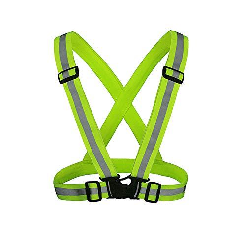 Reflektierende Weste & Reflektorbänder, Einstellbar Elastische Rmband Set, Gürtel Warnweste Für Walking, Jogger, Fahrrad,Fluorescent Yellow