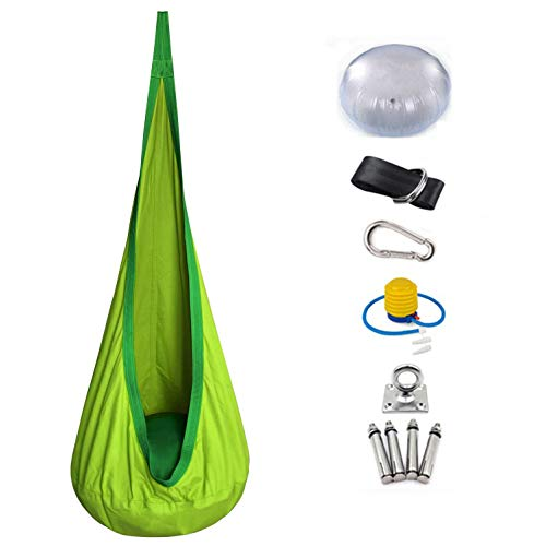 KELEQI Kids Pod Swing Seat with Hardware Kits and Air Pump for Hanging Child Swing Hammock Chair, Easy to Install, Outdoor and Indoor Use,Green