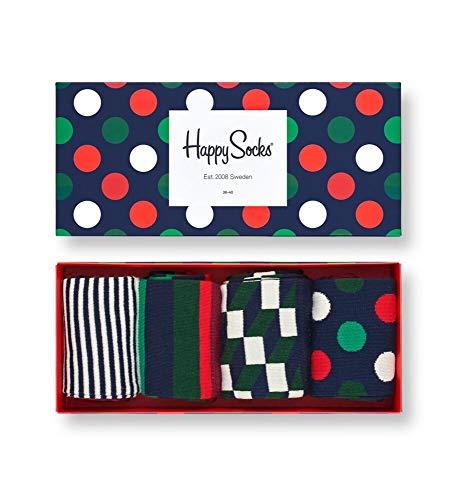 Happy Socks farbenfrohe und verspielte Holiday Big Dot Gift Box Geschenkboxen für Männer und Frauen, Premium-Baumwollsocken, 4 Paare, Größe 36-40.
