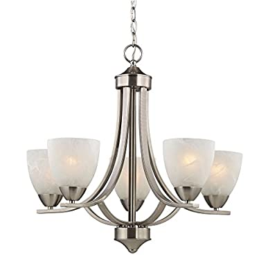Design Classics Lighting Satin Nickel Modern Hanging Chandelier Light Fixture with Alabaster Glass Shades