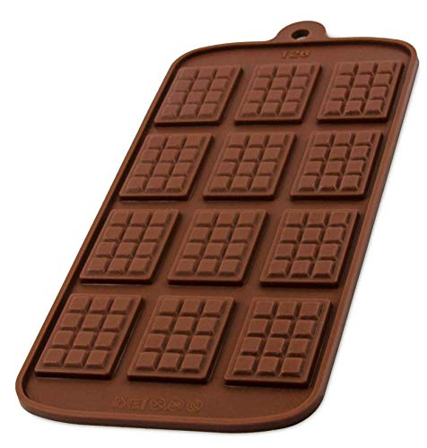 BlueFox Silikonform mit 12 Schokotafeln, Schokoladenform, Eiswürfelform, Pralinenform, Praline, Hundekekse, 21 x 10,5 x 0,5cm, Süßigkeiten, Naschen, Torte, Kuchen, Geschenkidee, Farbe: Braun