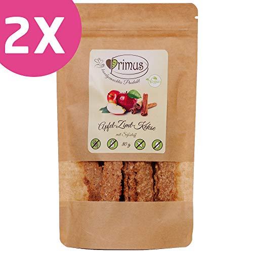 Primus Handgemachte Kekse mit Apfel und Zimt, 2x 80 g Doppelpack, knusprig-leckere Kekse ohne Zusatzstoffe, zuckerfrei, glutenfrei und vegan