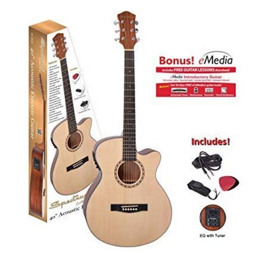 """Spectrum AIL 265AE 40"""" Cutaway Acoustic/Electric Guitar with 4 Band EQ, Natural Satin Finish"""