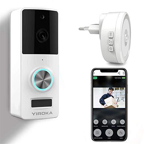 YIROKA Timbre Inalámbrico con Camara, HD 1080P Video Timbre WiFi Inteligente, Detección de Movimiento PIR, IP65 Impermeable, con Receptor de Luz Nocturna, Blanco