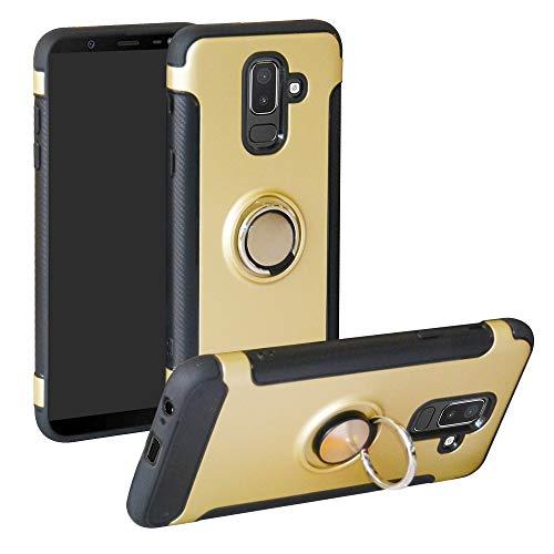 Labanema Galaxy J8 2018 Funda, 360 Rotating Ring Grip Stand Holder Capa TPU + PC Shockproof Anti-rasguños teléfono Caso protección Cáscara Cover para Samsung Galaxy J8 2018 - Oro