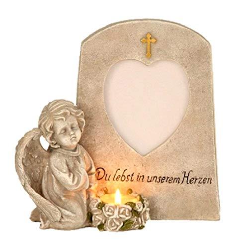 Grabschmuck Engel neben Trauerstein mit Foto Fenster Teelicht und Aufschrift Du lebst in unseren Herzen Grabdekoration