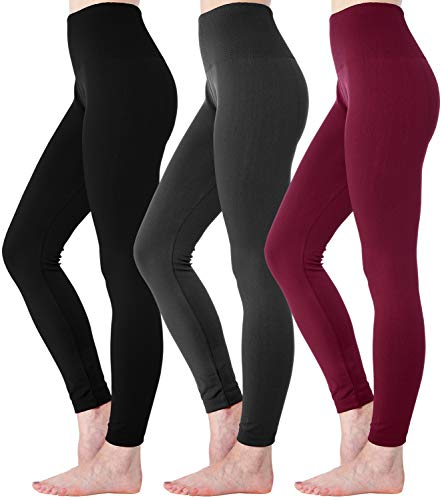 Diravo Fleece Lined Leggings Womens Fashion High Waist Tummy Control Leggings for Women Winter Warm (3 Pack-Mixed Color 02)