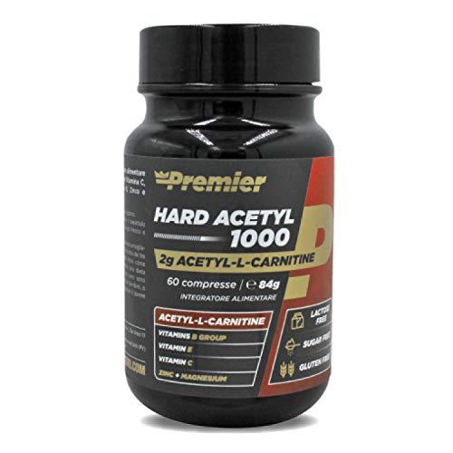 Premier Integratori Hard Acetyl 1000 - 60 compresse | Acetyl-L-Carnitina con Vitamine del gruppo B | Vitamina C, Vitamina E, Zinco e Magnesio.