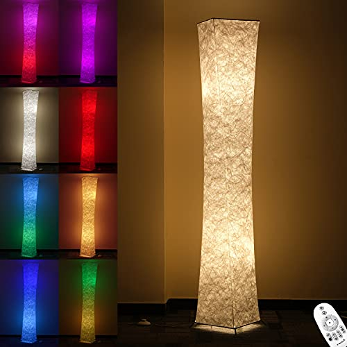 Floor Lamp, CHIPHY 64  Tall Lamp, Dimmable and Color Changing LED Smart Bulbs and White Fabric Shade, with Remote Control, Standing Lamp for Living Room, Bedroom and Play Room